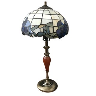 Midcentury Wood and Brass Lamp With Floral Tiffany Style LampShade For Sale