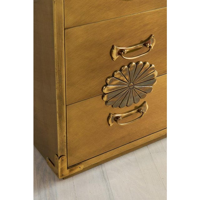 Mastercraft Brass Clad Three Drawer Dresser by Mastercraft For Sale - Image 4 of 7