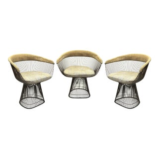 Warren Platner for Knoll Mid-Century Modern Bronze Wire Armchairs For Sale