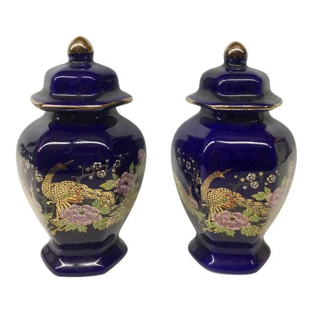 Mini Japanese Cobalt Ginger Jars - A Pair For Sale