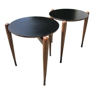 Pair of Mid Century Round Stacking Drinks Tables For Sale