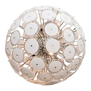 White Murano Disc Sputnik Chandelier For Sale