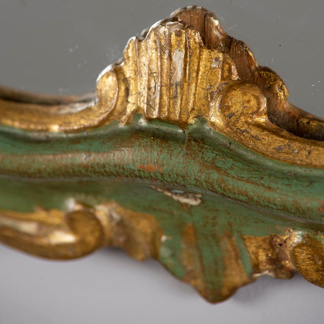 Green Small French Green and Gilded Crown Top Mirror For Sale - Image 8 of 10