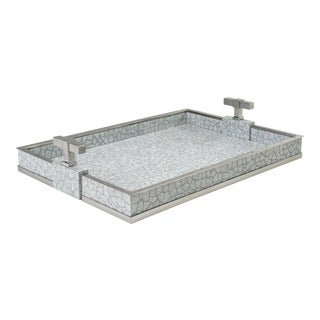 Large T Handle Tray in Grey / Nickel - Steven Gambrel for The Lacquer Company For Sale