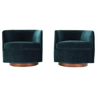 Milo Baughman for Thayer Coggin Tilt & Swivel Lounge Chairs- A Pair For Sale