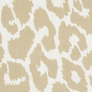 Schumacher Iconic Leopard Indoor/Outdoor Fabric in Linen For Sale