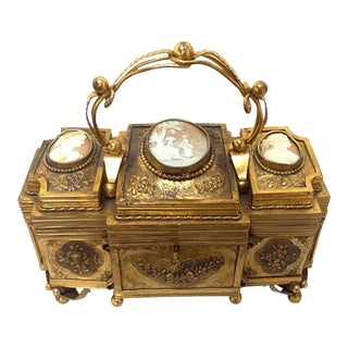19th Century Cameo Topped Gilt Brass Casket For Sale