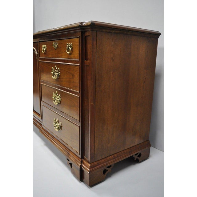 1970s Vintage Thomasville Chippendale Style Cherry Wood Triple Dresser Long Chest Credenza For Sale - Image 5 of 13