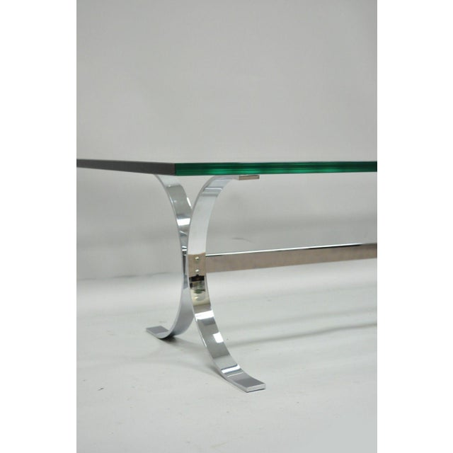 Mid-Century Modern Mid-Century Modern Chrome Butterfly Base Glass Top Coffee Table Baughman Style For Sale - Image 3 of 12