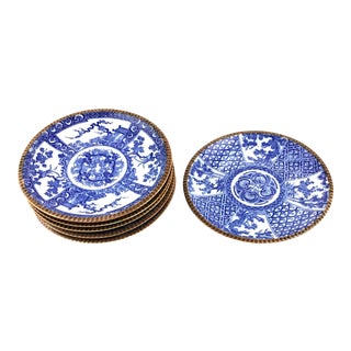 Sometsuke Japanese Meiji Pottery Plates - Set of 6 For Sale