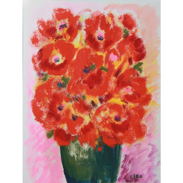 Fresh Flowers #6 Abstract Floral Painting by Cleo - Image 1 of 2