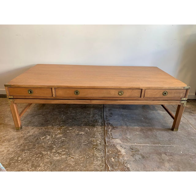 Campaign Style Wood Coffee Table W/Drawers For Sale - Image 10 of 10