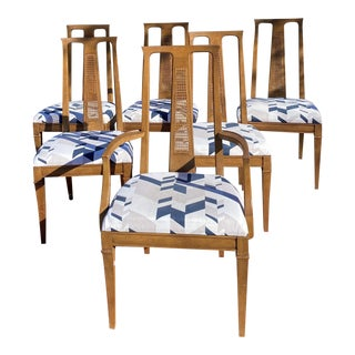 Vintage Drexel Mid-Century Cane Back Chairs - a Set of 6 For Sale