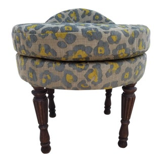 1920s Boho Chic Gray and Yellow Leopard Print Vanity Bench