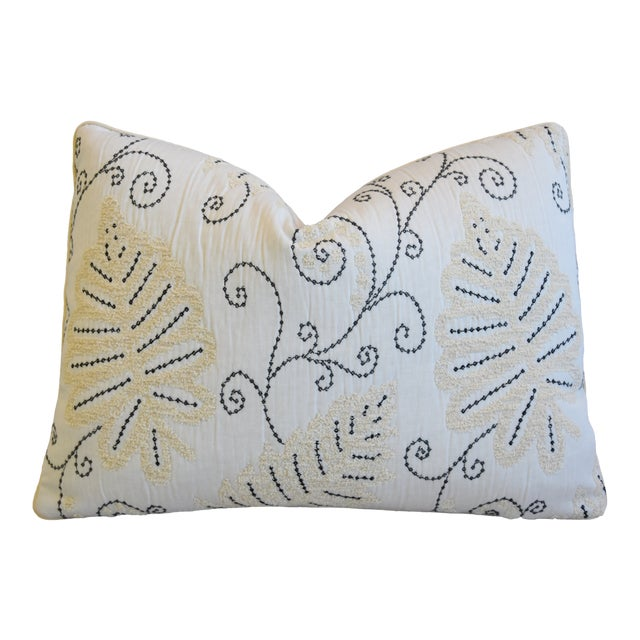"""Scalamandre Embroidered Fern Wood Feather/Down Pillow 22"""" X 16"""" For Sale"""