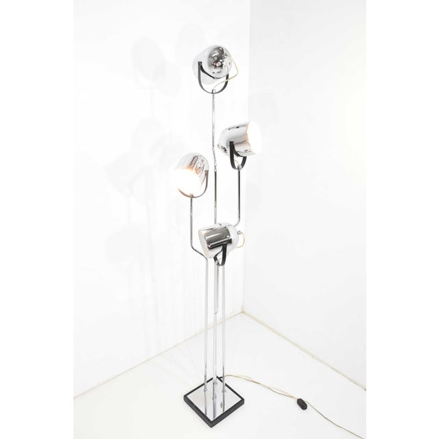 Contemporary Reggiani 4 Head Chrome and Black Floor Lamp For Sale - Image 3 of 11