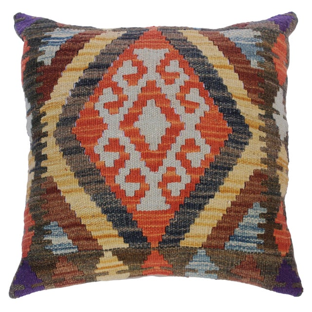 "Chung Green/Rust Hand-Woven Kilim Throw Pillow(18""x18"") For Sale"