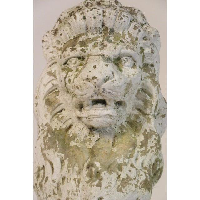 Concrete Pair of 1940s Concrete Lions For Sale - Image 7 of 12