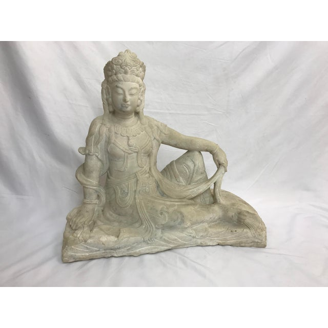 Guanyin / Guan Yin Bodhisattva Carved Marble Immortal Reclining Buddha Figure For Sale - Image 12 of 12