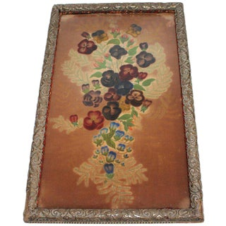 19th Century Therom Floral Painted on Velvet in Frame For Sale