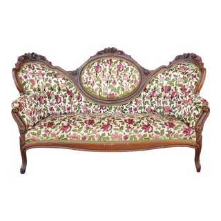 Antique Victorian Floral Couch For Sale