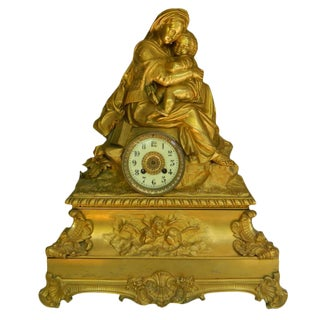 18th C. French Bronze Sculpture Mantel Clock
