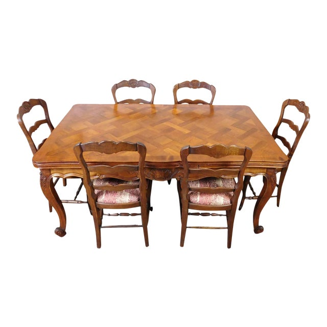 1960s French Country Oak Draw Leaf Table & 6 Chairs - Image 1 of 10