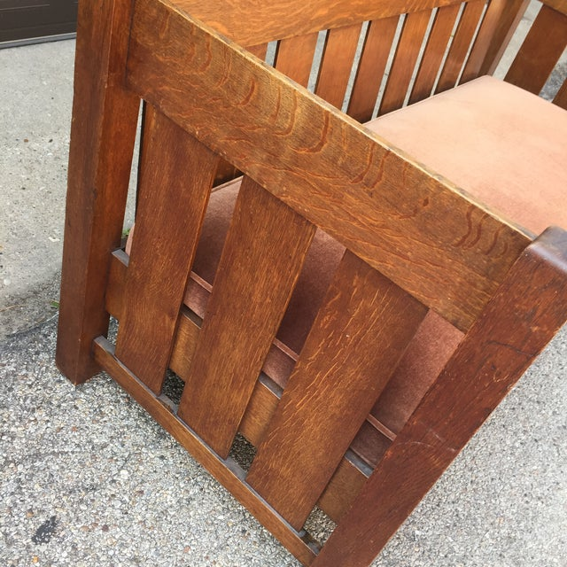 Wood Arts & Crafts 1900's Phoenix Furniture Company Oak & Velvet Settle For Sale - Image 7 of 11