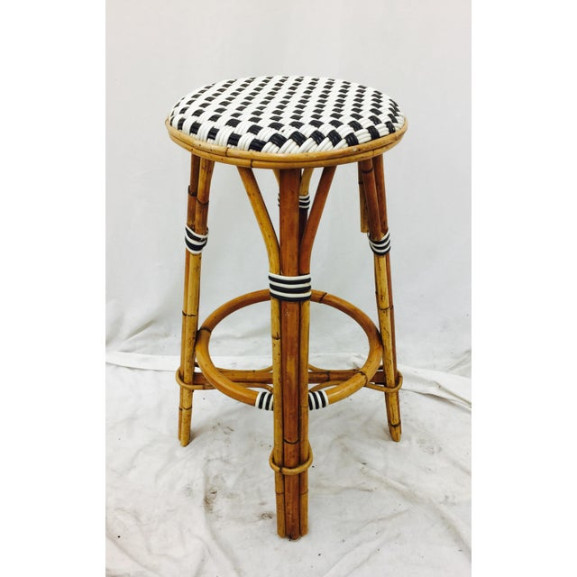 "Vintage Woven Black & White Top Rattan Frame Bar Stool from Italian Bistro. Seat H : 28.5"" Base: 20"" W Top: 15"" W"