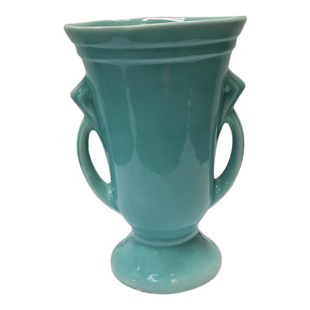1930's American Art Deco Turquoise Double Handled Vase For Sale