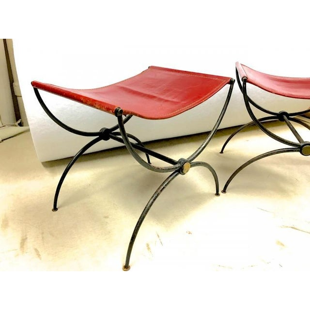 """Rene Prou Pair of """"X"""" Stools in Wrought Iron and Red Hermes Color Leather."""
