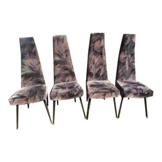 Adrian Pearsall Craft Assoc. Original Velvet High Back Dining Chairs - Set of 4 For Sale