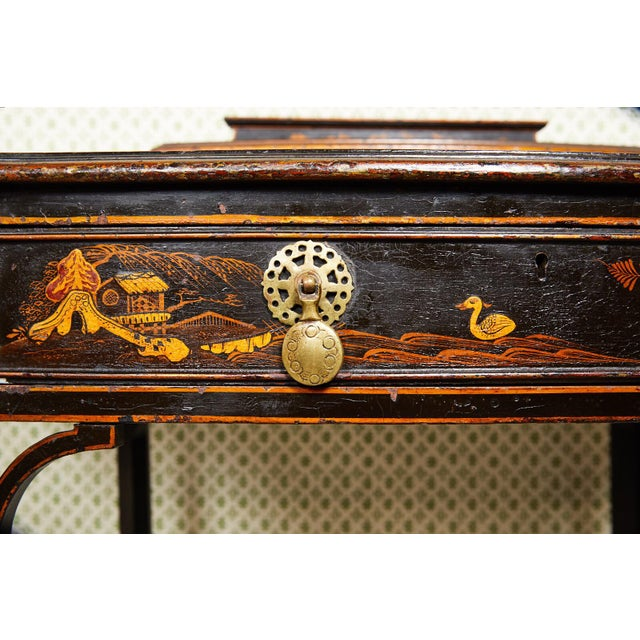 19th Century Regency Ebonized Chinoiserie Writing Table For Sale - Image 9 of 11