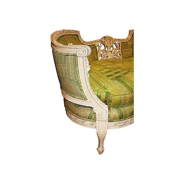 19th Century Green French Carved Loveseat - Image 4 of 8