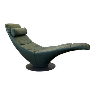 Late 20th Century Natuzzi Leather Italian Space Age Chaise Lounge For Sale