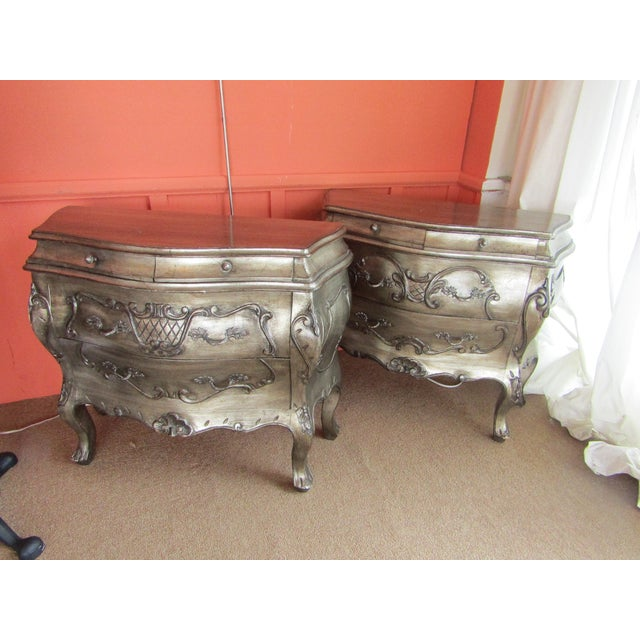 Bombay Style Nightstands, Side Tables in Antiqued Metalic Finish -- A Pair - Image 2 of 6