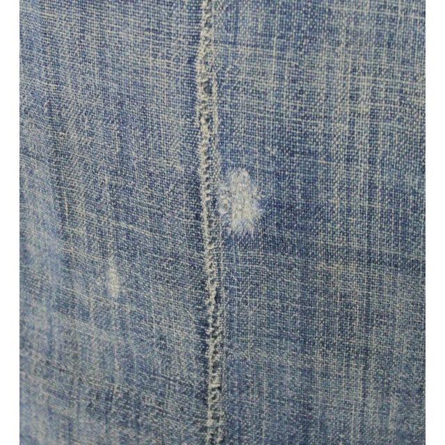 Cotton Vintage Blue Distressed Denim Pillow For Sale - Image 7 of 10