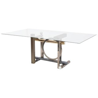 American Modern Chrome, Brass and Glass Dining Table, DIA