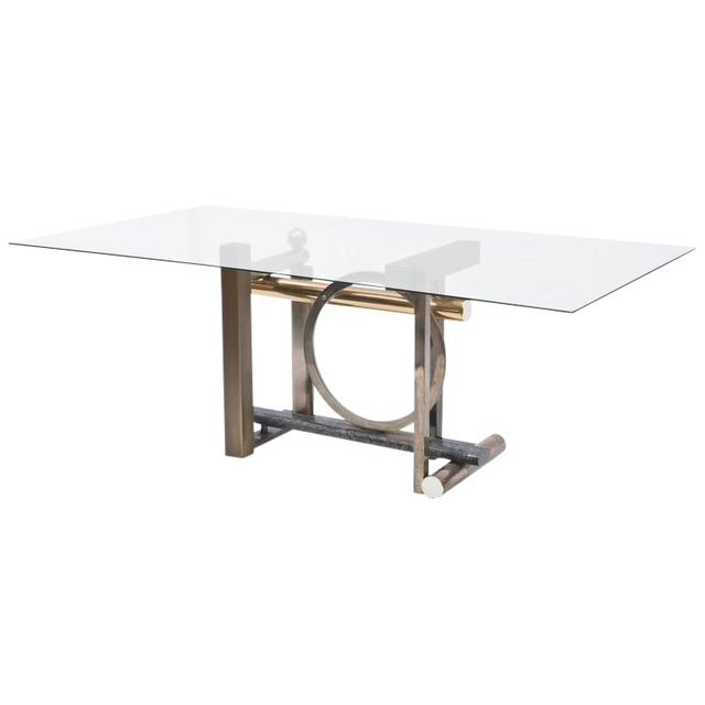 American Modern Chrome, Brass and Glass Dining Table, DIA For Sale