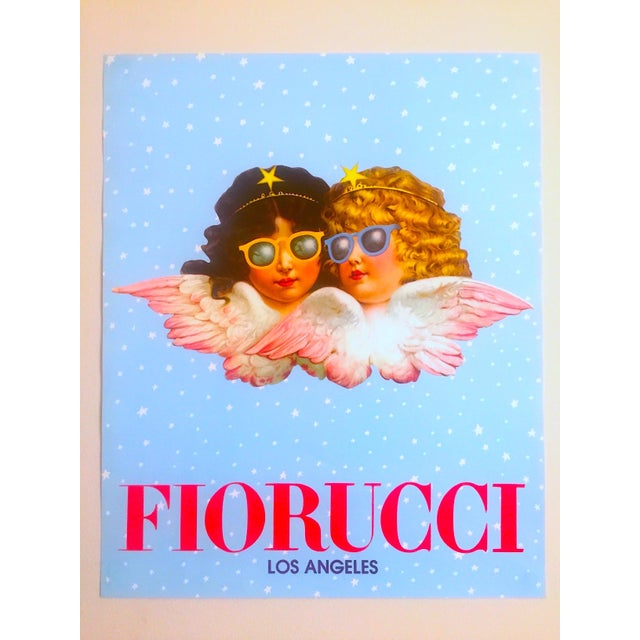 Blue Vintage 1980 Rare Fiorucci New Wave Italian Fashion Iconic Cherub Angels Post Modern Pop Art Poster For Sale - Image 8 of 9