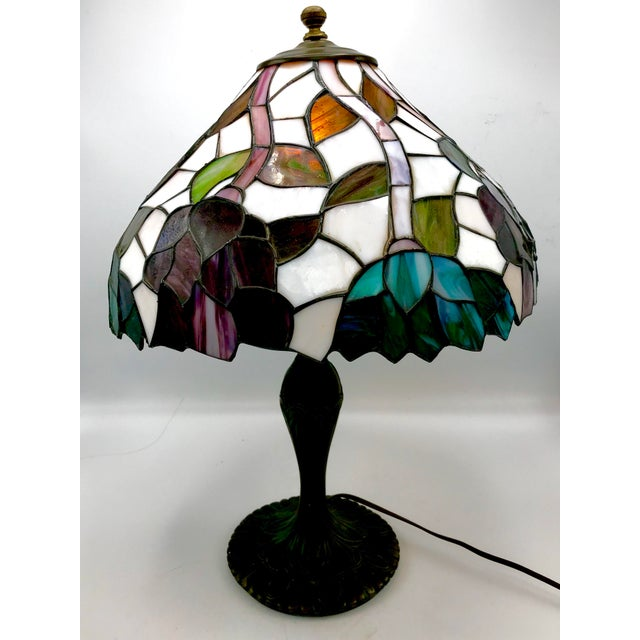 Art Nouveau Vintage Tiffany Style Stained Glass Table Lamp For Sale - Image 3 of 10