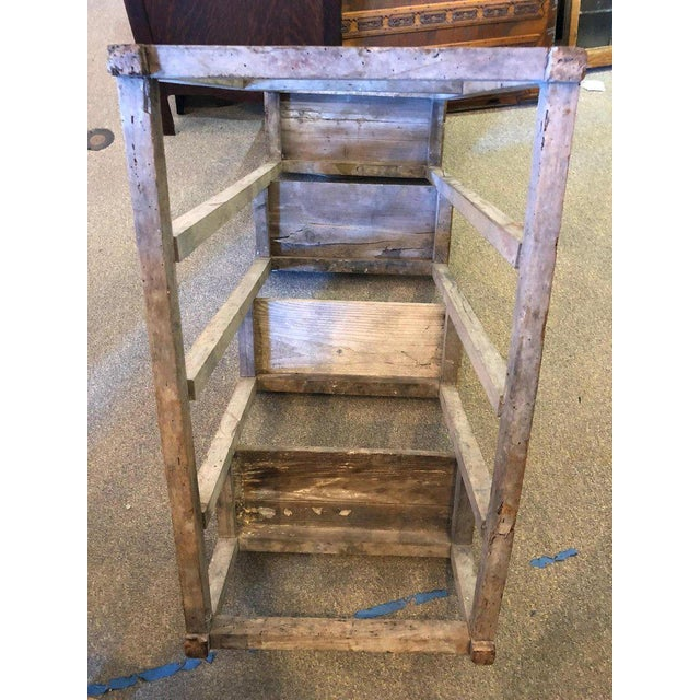 Ladder From France With Pegged Nails, Primitive Wood With Paint Remnants For Sale - Image 10 of 13