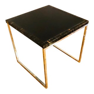 Leather Top/Horn Edge End Table For Sale