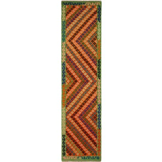 Joannie Green/Rust Hand-Woven Kilim Wool Rug -2'7 X 9'9 For Sale