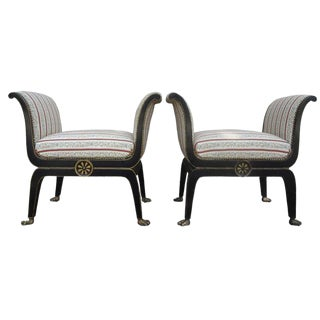 1940s Vintage Italian Neoclassical Style Ebonized and Gilt Wood Benches-A Pair For Sale