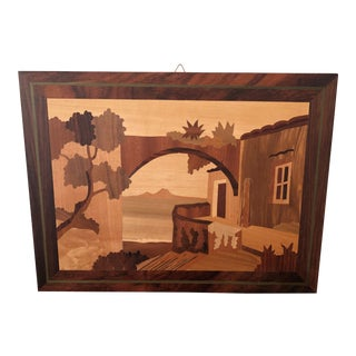 Vintage Marguetry Wood Inlay Picture Archway by the Seaside Italy For Sale