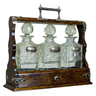 1900s English Liquor Decanters in Case Set For Sale
