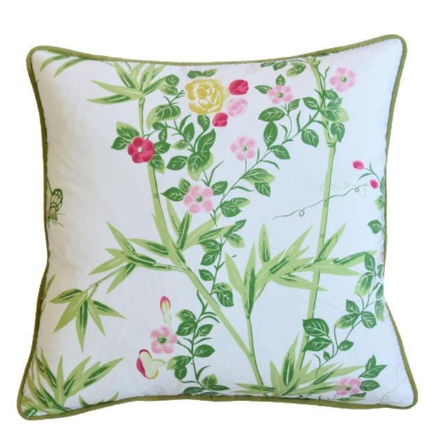 "Large custom-tailored pillow in Italian Scalamandré ""Jardin De Chine"" fabric depicting a floral design. Moss-colored..."