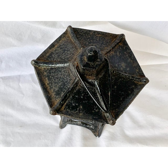 Chinoiserie Vintage Cast Iron Pagoda Lantern For Sale - Image 3 of 9