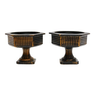 Black and Gold Ceramic Cachepots - a Pair For Sale